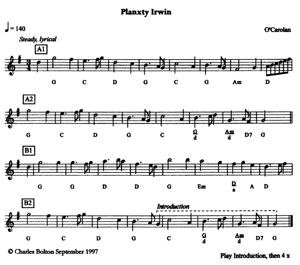 Planxty Irwin (for Mrs Pike's Maggot)